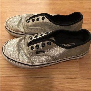 Vans Glitter Metallic Silver Slip On Shoes Sneaker